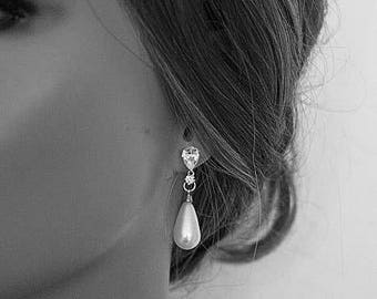 Pearl Drop Bridal Earrings Platinum Vintage Inspired Art Deco Best Pearl Drop Earrings