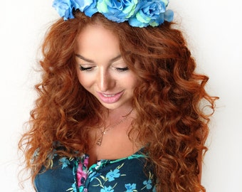 Blue Rose Crown - floral headband, floral crown, flower crown, flower headband floral wreath, fascinator, festival crown, rose crown