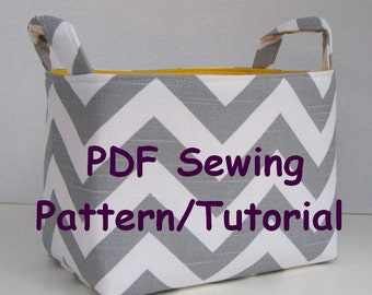 Fabric Storage Organizer Bin - PDF Sewing Pattern/Tutorial -Three Different Looks - Fabric Easter Basket - Fabric Halloween Basket