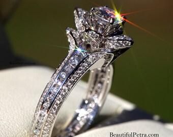 UNIQUE Flower Rose Diamond Engagement or Right Hand Semi mount Ring - 1.50 carat - 14K white gold - wedding - brides - fL01