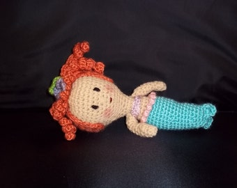 Crocheted Small Mermaid Doll -Red Hair - Turquoise, Lavender and Pink - FREE SHIPPING
