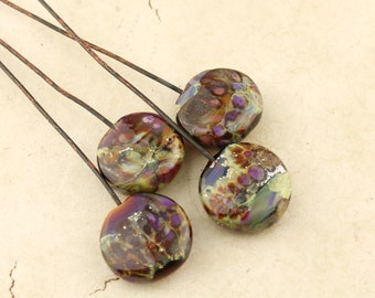 Lampwork Beads, Glass Head Pins 2 Pair Headpin on Antique Copper Wire Green Purple Gold