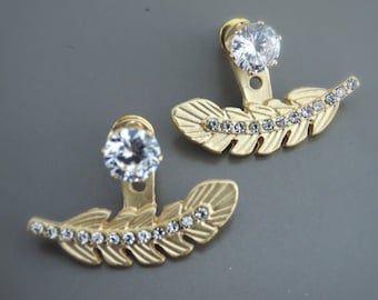 Ear Jackets - Statement Earrings - Gold Earrings - Leaf Earrings - Crystal Earrings - Stud Earrings - Boho Earrings