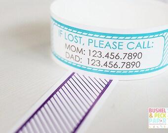 Custom Vinyl Striped ID Bracelets - Personalized ID Bands - #Kids #Travel #Safety