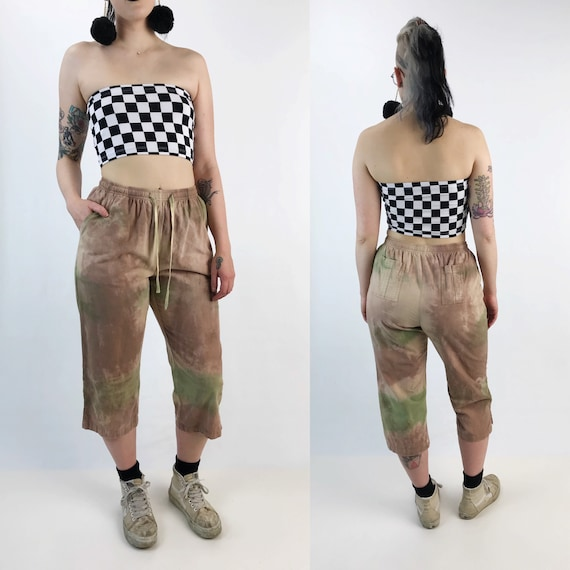 Tie Dye Vintage Cotton Trouser Pants Elastic High Waist S/M - Hand Dyed High Waist Casual Earth Tones Pants - Grunge Tapered Flood Pants