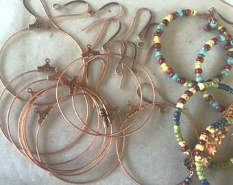 Perle de Hoop & Earwire Kits ~ votre choix Ant laiton, cuivre ou argent - libre Shpg