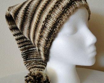 Knit Adult Stocking Hat In Browns and White