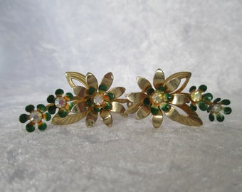 Earrings/Vintage floral Coro clip on earrings gold flowers green enamel and aurora borealis