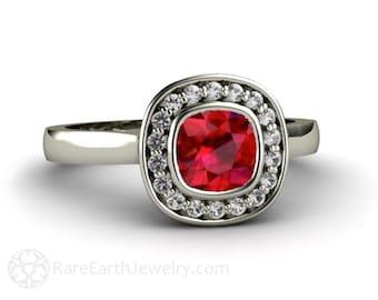 Ruby Engagement Ring Bezel Set Cushion with Diamond Halo 14K Gold Custom Ruby Ring Bridal Jewelry