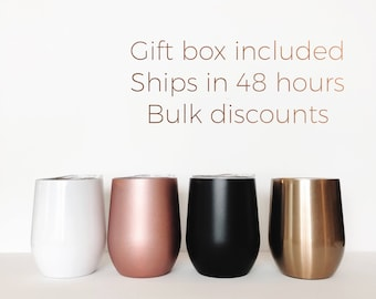 Rose gold wine tumbler, stemless wine glass, Cold or Hot, bridal party gift, wine tumbler, hostess gift, coffee mug, coffee to go