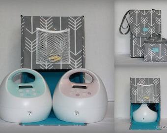 Half Size Alana style Spectra Breast pump bag in Gray Arrows