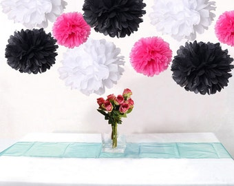 18pcs Mixed Hot Pink Black White DIY Tissue Paper Flower Pom Poms Wedding Birtday Bridal Shower Hanging Party Decoration