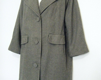 1950s HOUNDSTOOTH wool Ladies CAR COAT, size xl