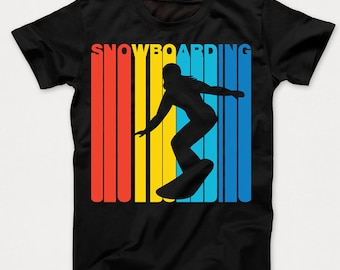 Retro 1970's Style Snowboarding Snowboarder Sports Kids T-Shirt