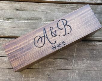 Dark wood wedding wine box, wine bottle box, wine carrier, custom and personalized box, monogram wine box, wedding anniversary gift
