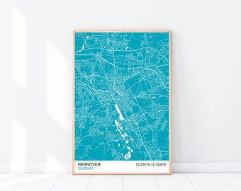 Hanover Map Print, Custom Map Print, Street Map, Choose Your Own City, Wall Art, Map Wall Art, City Map Print, Hanover City Map Poster