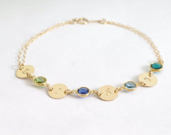 Custom Mother bracelet Personalized bracelet Initial and birthstone jewelry Gift for Grandma Mom birthstone jewelry mothers day gift Initial