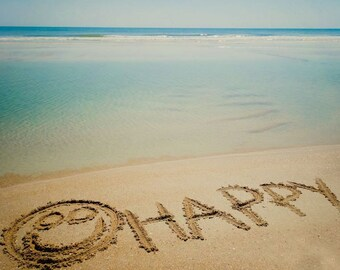 HAPPY Beach Sand Writing Fine Art Print - Travel, Scenic, Landscape, Nature, Home Decor, Zen
