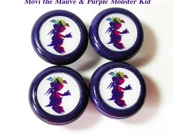 Monster Knobs Set Featuring 'Movi' the Mauve & Green Monster Kid. Set of 4 Painted Wooden Knobs for Kids Dresser Drawers, Nursery, Playroom