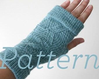 Knit Fingerless Gloves Pattern // Cuffed ZigZag Fingerless Mitts  - PATTERN ONLY - PDF