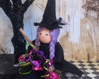 Witch doll witch ornament halloween ornament halloween doll vintage retro inspired purple hair witch witch art doll