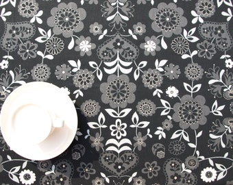 Christmas tablecloth black silver grey white flowers hearts Modern Scandinavian Design , runner , napkins , pillow , curtains , great GIFT