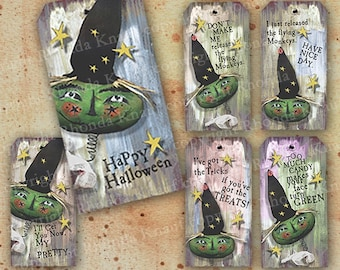 Funny Digital Witch Halloween Tags - INSTANT Download - Humorous Kids Printable For Halloween Decorations, Crafts, Embellishments CS3H