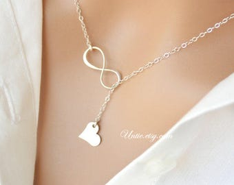 Infinity Lariat Y necklace and Heart with customized letter, Sterling Silver or gold Filled , simple everyday wear, sweet gift for her