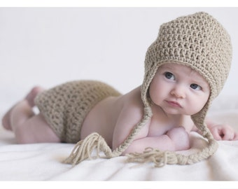 Pick-your-own-color diaper cover and hat set - great for everyday wear or as a photo prop for babies