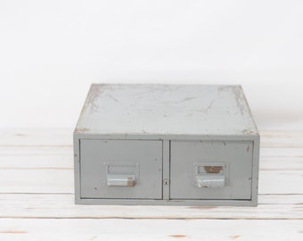 Vintage Gray Metal 2 Drawer Card File Cabinet  Industrial #1