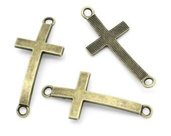 10 Antique Bronze Sideways CROSS Charm Connector Links, 37x16mm  chb0278