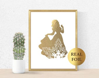 Snowwhite Print, Snowwhite Princess, Snowwhite Gold Foil, Princess Art Print, Snowwhite decor, Princess BirthdayParty, Snowwhite poster gift