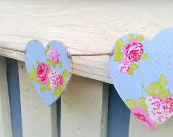 Heart Bunting, Floral & Polka Dot Wooden Heart Garland/Bunting, Decoupaged Heart Bunting, Floral Hearts, Vintage Style, Shabby Chic