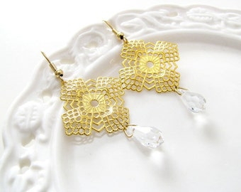 sparkling prisms earrings. gold filigree with clear teardrop crystals