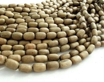 12 perles de bois taupes ovales de 10x15mm