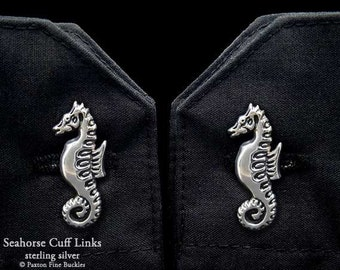 Seahorse Cuff Links Sterling Silver