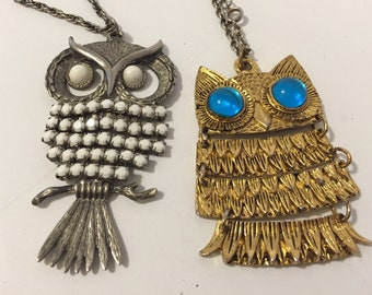 OWL NECKLACE SILVER and GoLD - TwO Necklaces, Vintage 1960's, Mid Century Jewelry at A Vintage Revolution