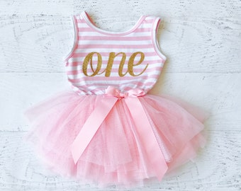Pink and Gold First Birthday Outfit, Tutu Dress, Gold First Birthday Outfit, and First Birthday Outfit Girl, Girls First Birthday Outfit