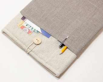 30% OFF SALE White Linen MacBook Case with dark linen pocket. Case for MacBook 11 Air. Sleeve for MacBook Air 11 inch.