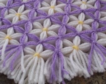 Retro Woven Kitchen Trivet, Purple Trellis, Yarn Hot Pad, Yarn Serving Mat, Yarn Trivet, Woven Mat, Lavender Hot Pad, Daisy Trivet, Flowers