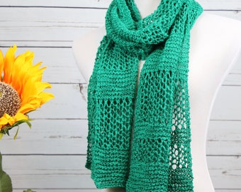 Emerald green linen and cotton wrap, openwork scarf, long rectangular scarf, lightweight summer wrap