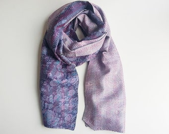 Kantha Sari Silk Scarf - Purple and Lilac, upcycled, luxury, summer, one-of-a-kind, vintage, reversible