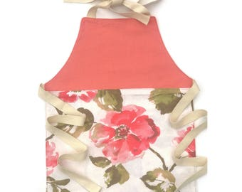 Children's Apron Personalized, Kids Apron Embroidered, Floral Apron, Flower Print