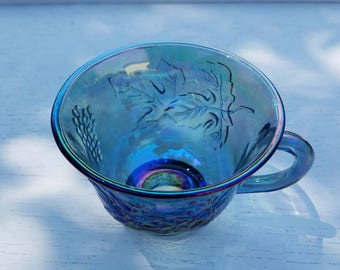 Blue Carnival Glass Punch Bowl Cup