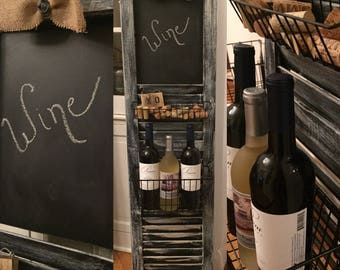 It's Wine O'clock Somewhere ; Vintage shutter with blackboard and baskets. Wine and corks NOT included