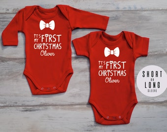 MY FIRST CHRISTMAS Personalized Baby Boy Outfit, My First Christmas Outfit, Red Bodysuit, Christmas Baby Boy Outfit, Baby Christmas Outfit