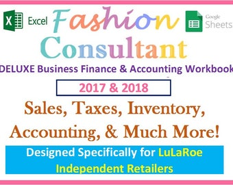 LuLaRoe 2018 Fashion Consultant DELUXE Finance Accounting Excel Spreadsheet Workbook Profit Revenue Inventory Sales Expenses Taxes More