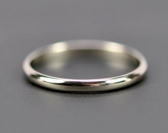 14K White Gold 2x1mm Half Round Wedding Band, Palladium White Gold Band, Classic Bridal, Recycled Gold, Sea Babe Jewelry