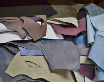 Leather Scraps Oil tanned Boot 1 pound 3-5 oz Cow project Remnants  10919