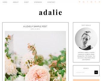 "Wordpress Theme Premade Blog Template Design - ""Adalie"" Instant Digital Download"